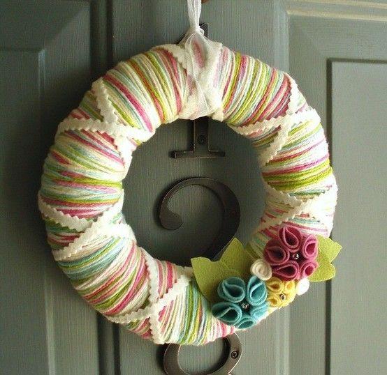 Spring yarn wreaths