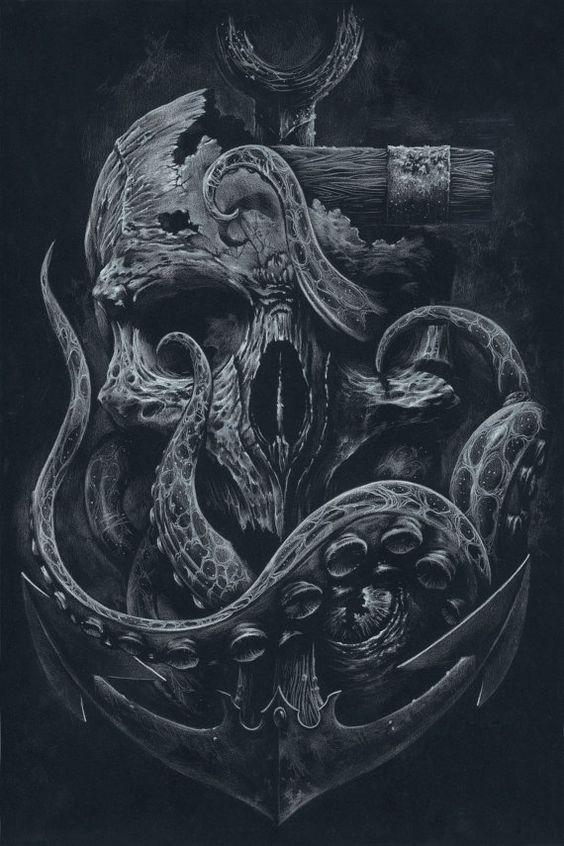 THE LOCKER Custom Print Octopus Skull Anchor Black by grabinkART   tatuajes | Spanish tatuajes  |tatuajes para mujeres | tatuajes para hombres  | diseños de tatuajes http://amzn.to/28PQlav
