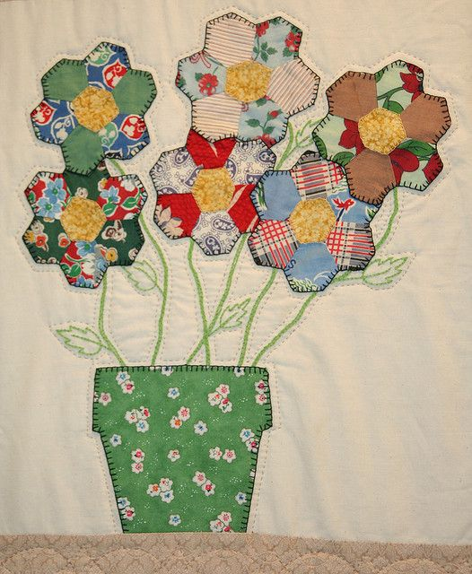 Hanging Flower Baskets Spokane : Hexagon flowers in a pot with blanket stitching