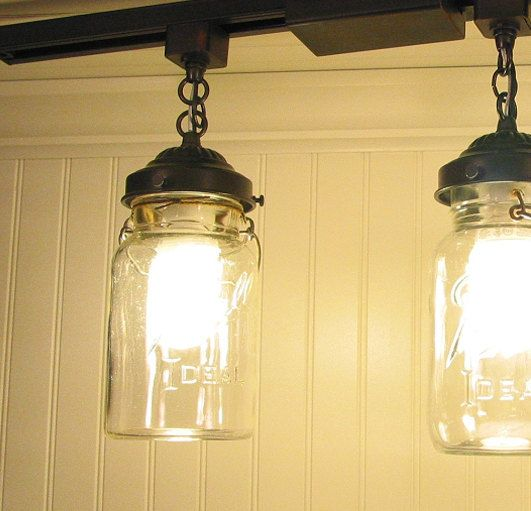 Mason Jar TRACK LIGHTING Pendant New Quart