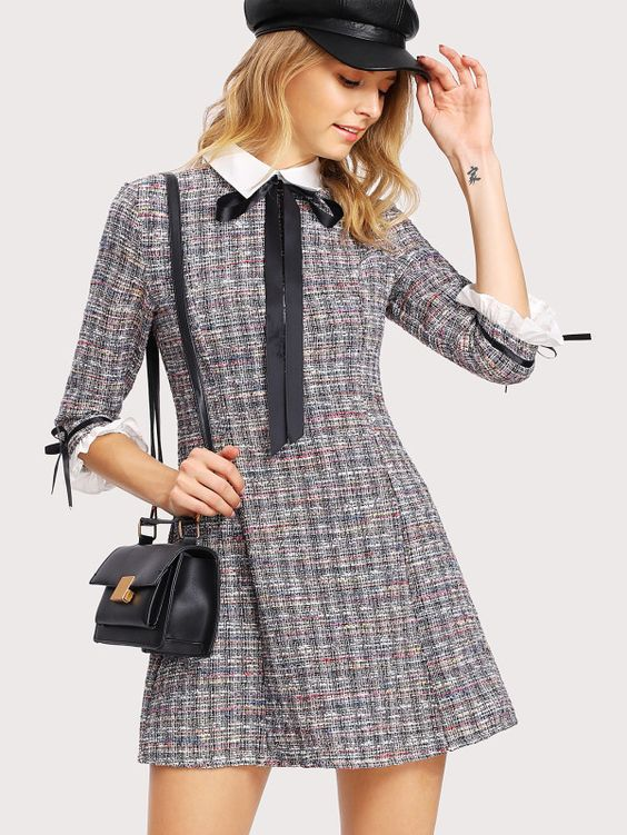 Robe en tweed bicolore -French SheIn(Sheinside)