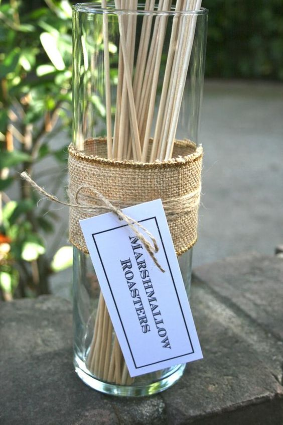 Marshmallow roasting sticks for rustic s'mores station (tin cans)