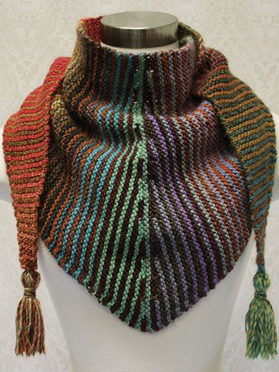 Free Knitting Patterns For Variegated Yarn : Free knitting pattern for Stripes & Short Rows colorful scarf or shawl - ...