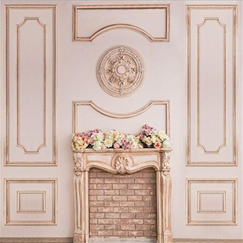 CSFOTO 14x10ft Interior Fireplace Backdrop Living Room Decor Retro Style Fireplace Fire Mirror Wooden Floor Background for Photography Interior Room Decor Wallpaper Adults Photo Booth Props