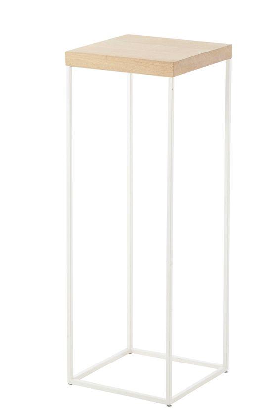 Mesita alta de roble macizo blanca Al 85 cm Austral  Deco