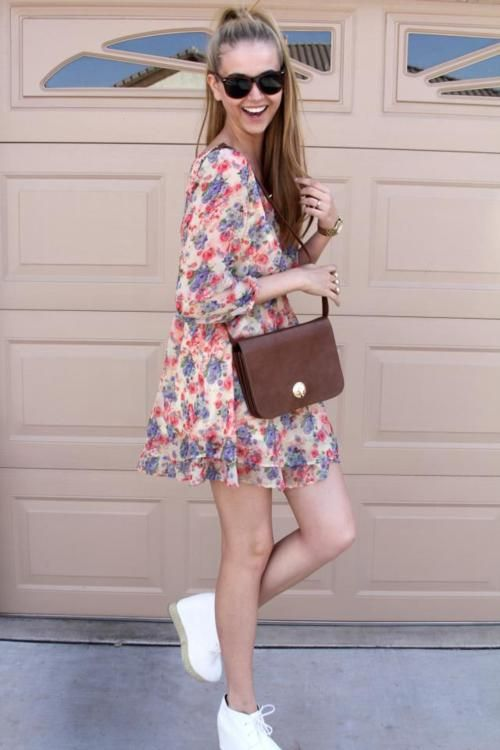 floral dress and white wedges