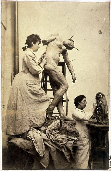 [Camille Claudel in her workshop.] Claudel was famous for being a protegee and lover of Rodin's. After her father's death, she was committed to an insane asylum in 1913 by her mother and brother where she lived till her death in 1943. Releases were blocked by her family. Her mother never visited her. No one from the family attended her funeral (only a few members from the hospital staff). Later her remains were buried in a communal grave (the body was never claimed by her family). Tragic.: