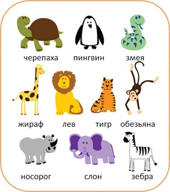 Animales en Ruso: