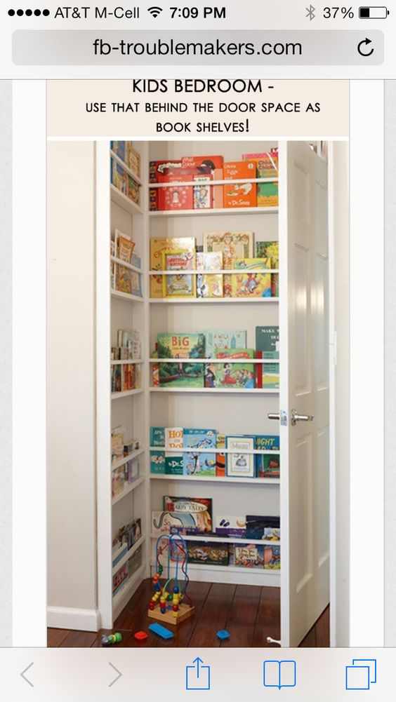 Book shelf behind the door. This is usually wasted space!