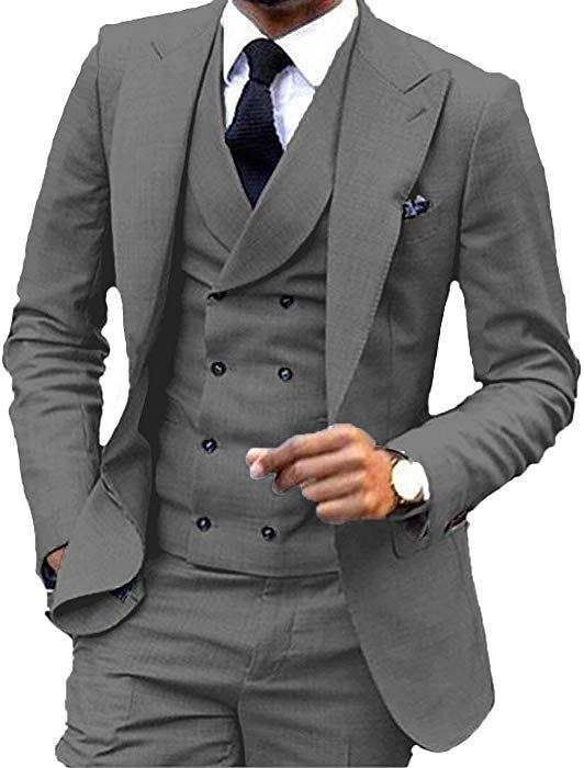YSMO Mens Slim Fit 3 Piece Suits Jacket /& Pants /& Vest Wedding Blazer
