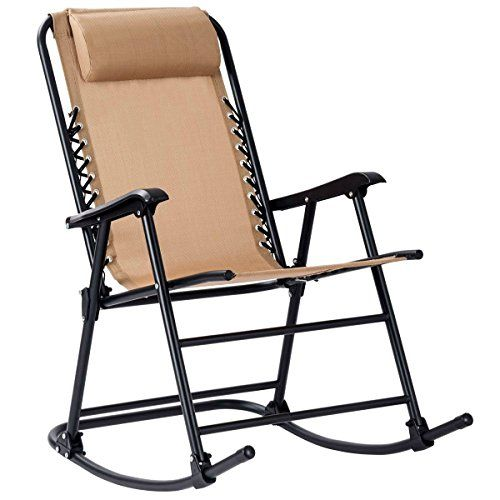 Goplus Folding Rocking Chair Recliner W Headrest Outdoor Portable