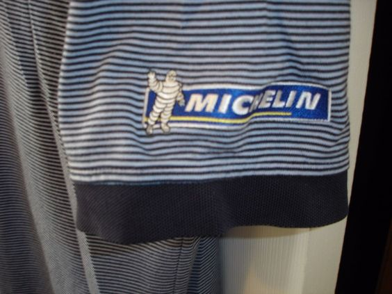 Details about michelin man polo employee uniform shirt for Employee shirts embroidered logo