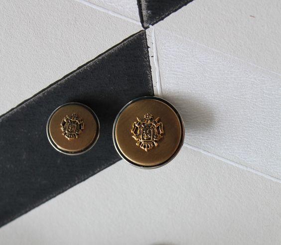 5 BOUTONS Dorés et argentés diam15 mm BOUT72-2 ronds vintage - bouton veste de…