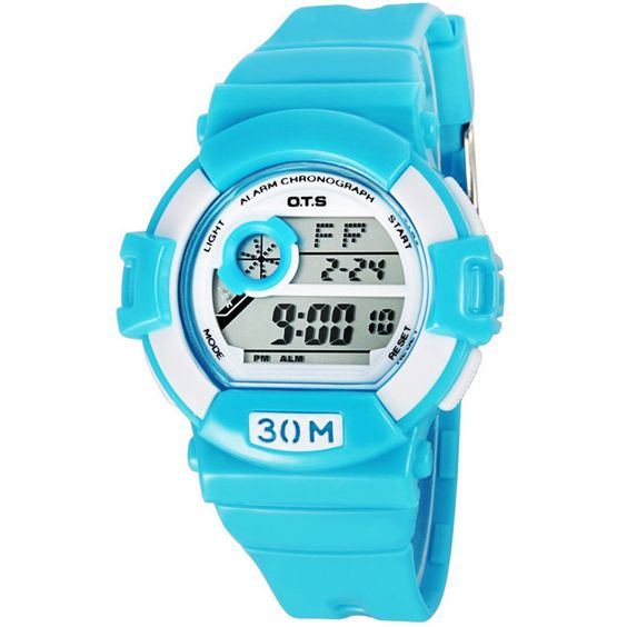 Fashion Sport Waterproof Luminous Rubber Calendar Outdoor Wrist Watch For Girls Or Boys,Sky-Blue. it can not be used for hot water or swimming.