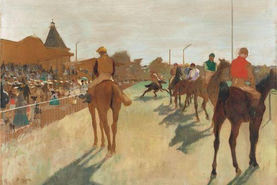 Le défilé, también conocido como Chevaux de courses devant les tribunes (E. Degas, 1866-68)