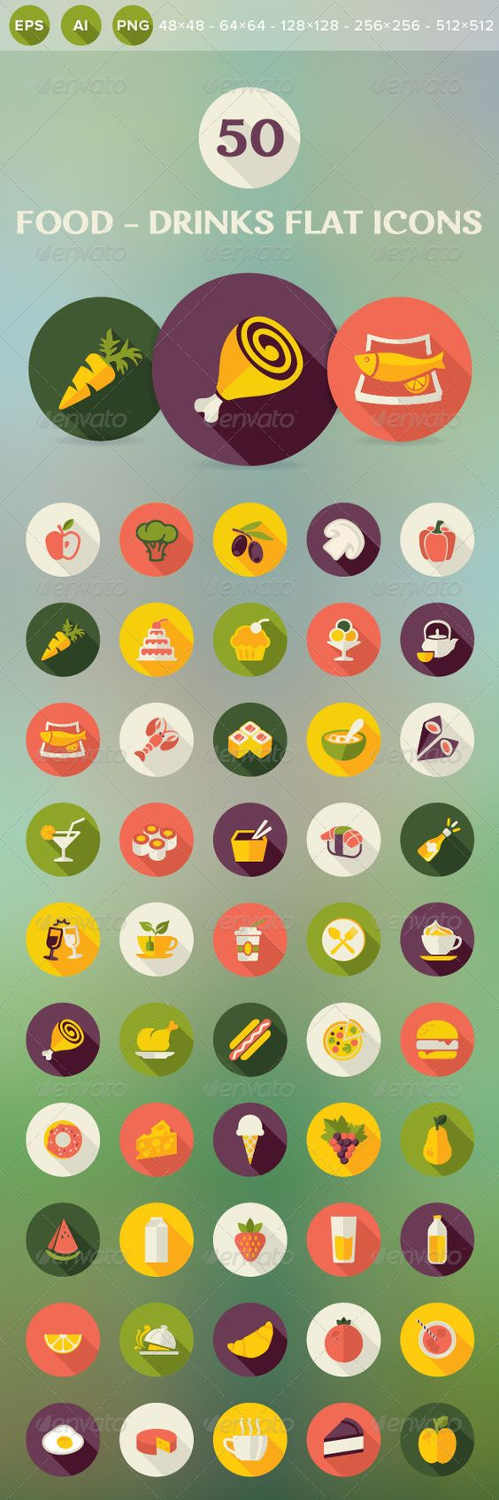 Food and Drinks Flat Icons (Food) | DailyDesignMag