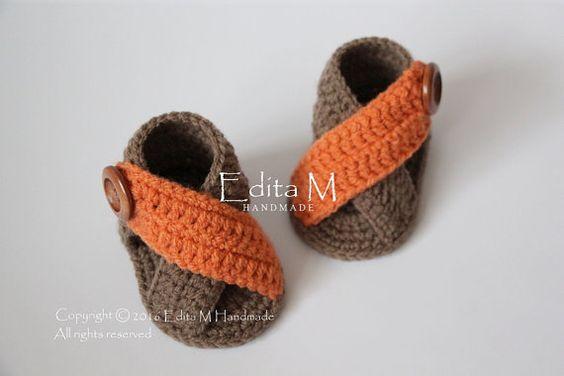 Crochet baby sandals baby gladiator sandals by EditaMHANDMADE