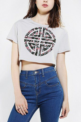 Corner Shop Spliced Flower Cropped Tee - Urban Outfitters