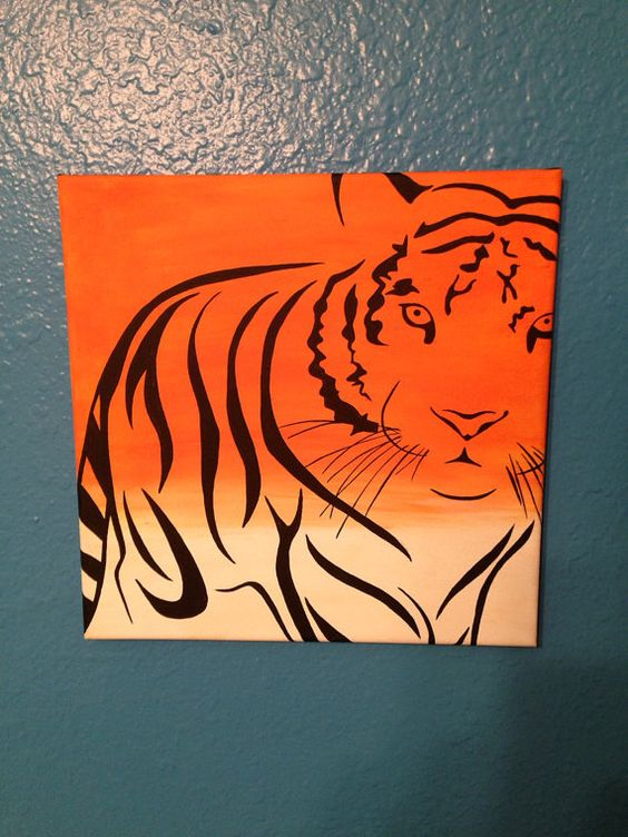 Tiger canvas painting custom order at for Cool canvas painting ideas