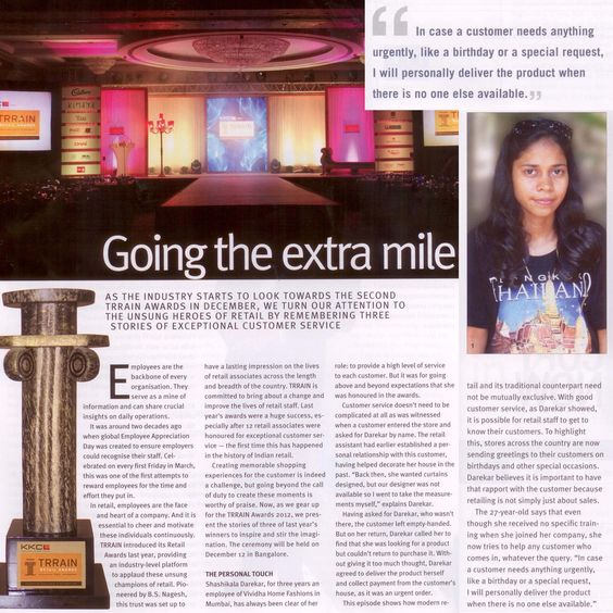 Our fantastic team member has made us proud once again - Ms. Shashikala Darekar has been featured in Retail Today magazine for delivering excellent customer service and winning TRRAIN award.. Kudos!!    And we want to take this opportunity to thank all our team members, who are the backbone of Vividha, for their dedication and commitment towards their work... Thank you team! :)