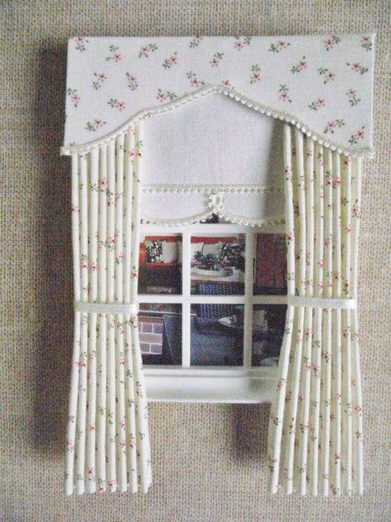 Miniature doll house curtains drapes with scalloped pelmet and ...