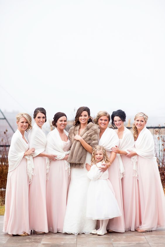 Blush floor length bridesmaid dresses and white pashminas for Adae salon fargo nd