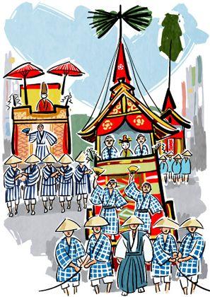 祇園祭の情景のイラスト 日本 祭りねぶた祭り日本