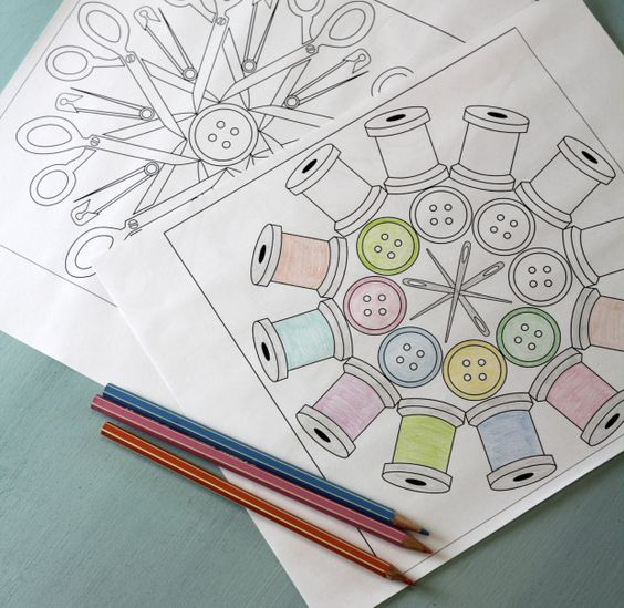 We love these free downloadable sewing themed coloring pages featuring sewing notions!