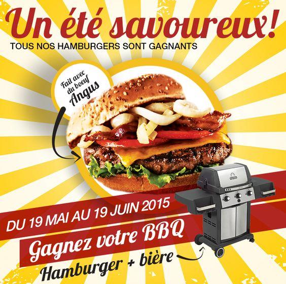 Nous lançons un mois succulent sous le thème du hamburger!  Du 19 mai au 19 juin 2015, tous nos hamburgers sont gagnants. En achetant un hamburger*, de votre choix, avec une bière en fût Labatt, courrez la chance de gagner votre BBQ juste à temps pour l'été.  * Un nouveau hamburger à tous les jours sera disponible au menu du jour (11h00 à 15h00) en plus de ceux au menu régulier.