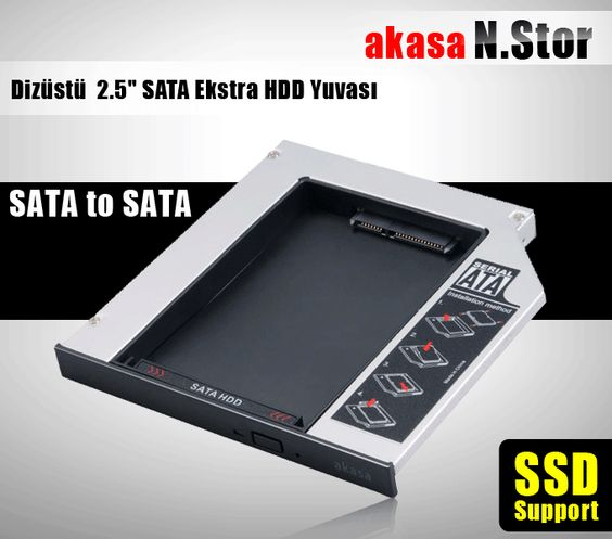 Akortek-Akasa N.Stor Notebook Slim SATA Optik Sürücü (ODD) Yuvasıyla Uyumlu 2.5 SATA HDD Kutusu - Disk Kutusu - Depolama