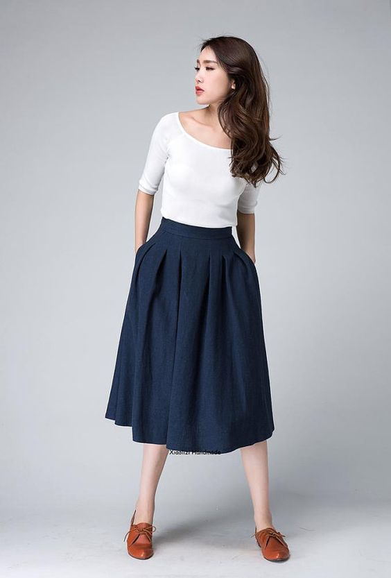 #5 Inverted Pleat/Navy high waist Skirtmidi skirtmidi skirt over knee length by xiaolizi: