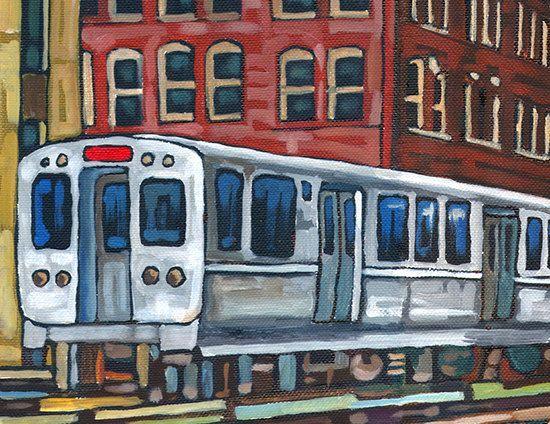 Chicago El art | Chicago El Train 5x7 Art Print by Anastasia Mak by AnastasiaMak