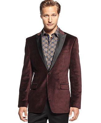 Tallia Orange Big and Tall Jacket Black Lapel Purple Velvet Plaid