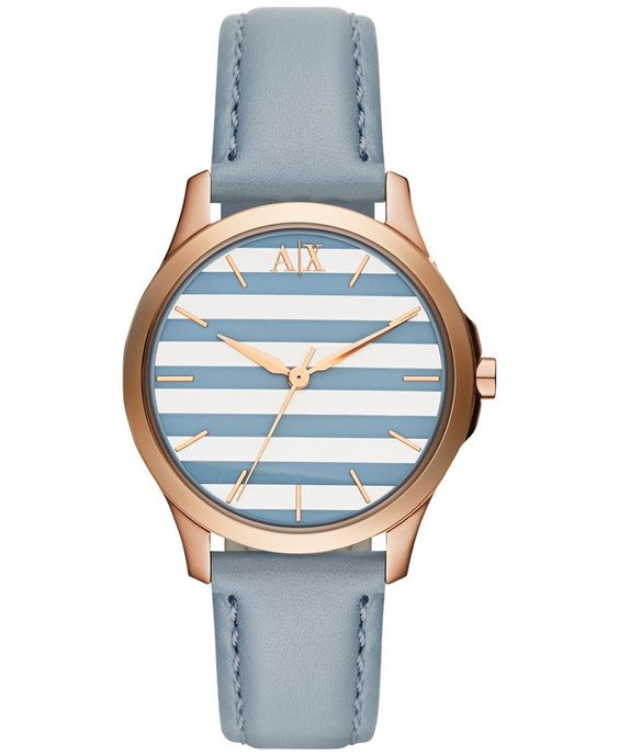 A|X Armani Exchange Women's Blue Leather Strap Watch 36mm AX5238
