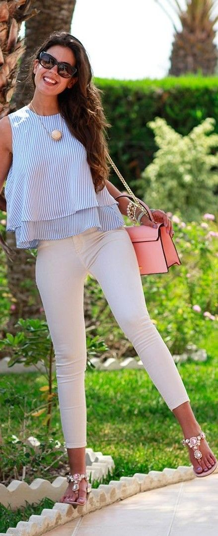 #summer #trendy #outfitideas Striped Top + White Skinnies: