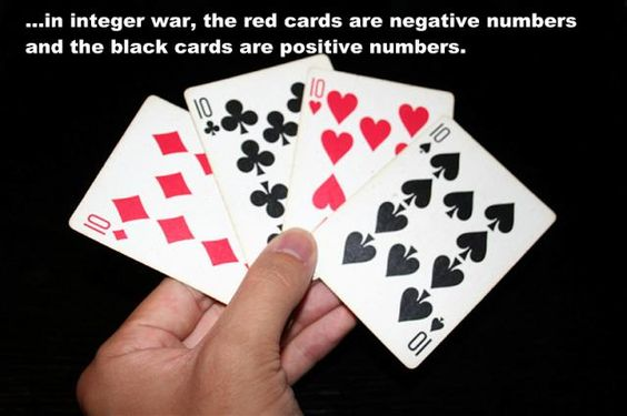 "Integer War - This is a great way to reinforce what an integer is and help the students to quickly realize how to solve and answer integer problems. Plus a integer game is a better way to reinforce the concept compared to using integer worksheets for kids.  A standard deck of playing cards is a great resource for reinforcing integer concepts and operations playing variations on the classic card game ""War"". READ HOW TO PLAY HERE: http://www.mathfilefoldergames.com/integer-war/"