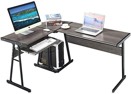 New Greenforest L Shaped Desk Corner Computer Gaming Desk Keyboard Tray Cpu Stand Pc Laptop Workstation Table Home Office Walnut Online Findandbuytopstyle In 2020 L Shaped Corner Desk Desk With Keyboard