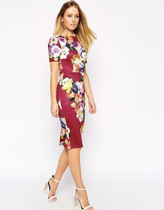 Love the ASOS Floral Print Scuba Body-Conscious Dress on Wantering.