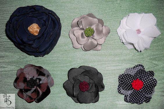 ...colección MARIA. Broches en seda, raso y organza. Realizados a mano.  MARIA collection. Brooches in silk, satin and organza. Handmade.