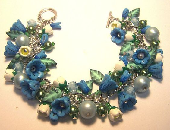Blue Flower Charm Bracelet by ColleensCreations on Etsy, $38.00