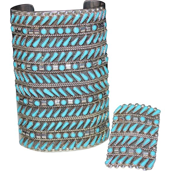HUGE Zuni Indian 12 Row Turquoise Needlepoint Cuff Bracelet & Ring Set Sterling