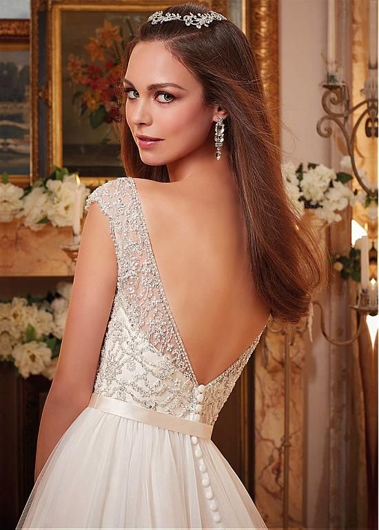 Buy discount Wonderful Tulle V-neck Neckline A-line Wedding Dresses With Beaded Embroidery at Dressilyme.com