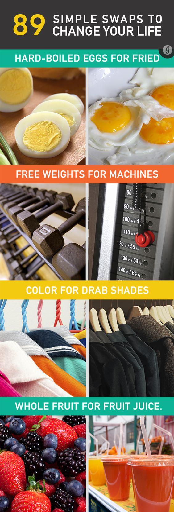 : Healthy Swaps, Health Fitness, Positive Change, Lifestyle Change, Healthy Lifestyle, Simple Swaps, Healthy Tip, Healthy Food