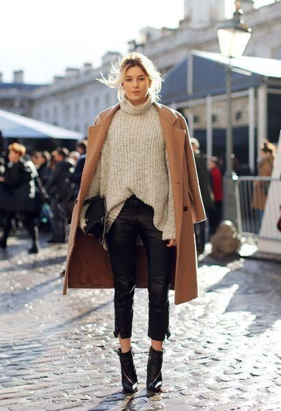 25 Stylish Winter Outfits to Copy Now - Gray oversized turtleneck sweater, off-the-shoulder styled camel coat, cropped leather pants, and black ankle boots