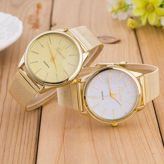 2015 Hot Geneva Womens Watches Crystal Gold Mesh Stainless Steel Band Wristwatch #pendoshopWholesale #LuxuryDressStyles