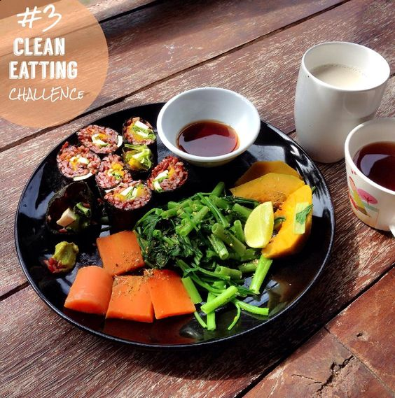 VEGAN - tufu brown rice Sushi sided pumkin morning glory and carrot serve wuth soy corn milk and tulsi ginger tea!