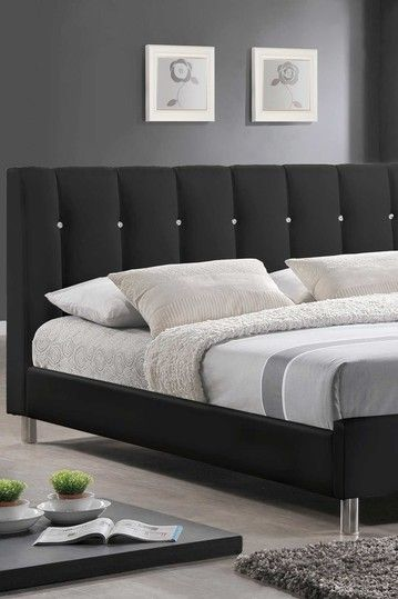 Modern queen bed upholstered headboards and full bed on pinterest - Queen bed for small spaces ...