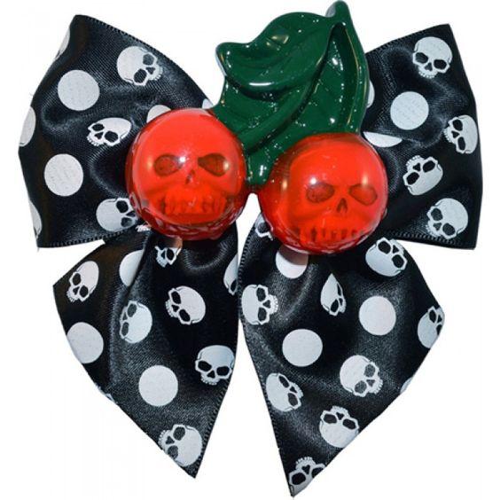 Kreepsville 666 - Cherry Skull Hair Bow White - Buy Online Australia Beserk