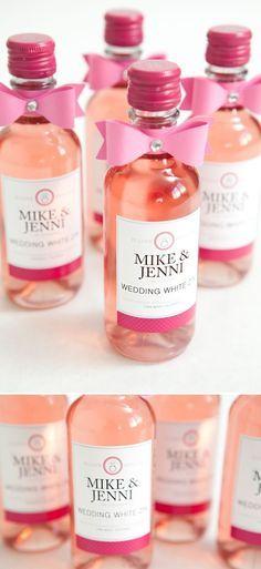 "DIY mini-wine bottle wedding favors with FREE label downloads! ""Wedding White Zin""! frugal wedding Ideas #frugal #wedding"