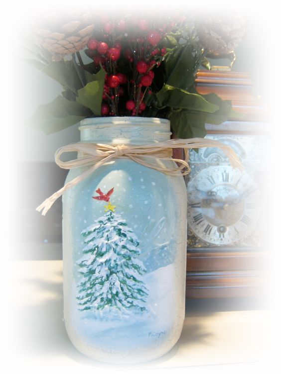 Hand-painted snowy Christmas mason jar by Marianne Coyne